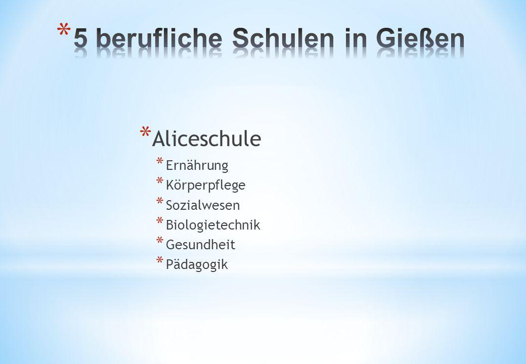 * Aliceschule * Ernährung * Körperpflege * Sozialwesen * Biologietechnik * Gesundheit * Pädagogik