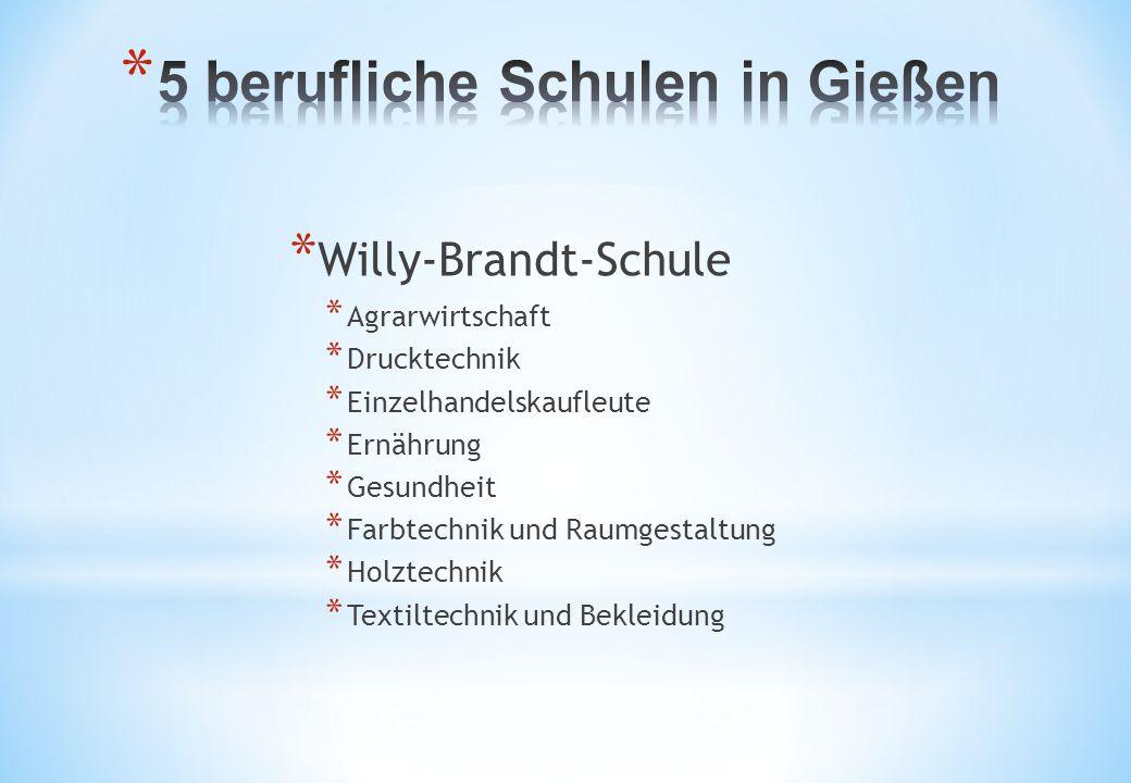 * Willy-Brandt-Schule * Agrarwirtschaft * Drucktechnik * Einzelhandelskaufleute * Ernährung * Gesundheit * Farbtechnik und Raumgestaltung * Holztechni