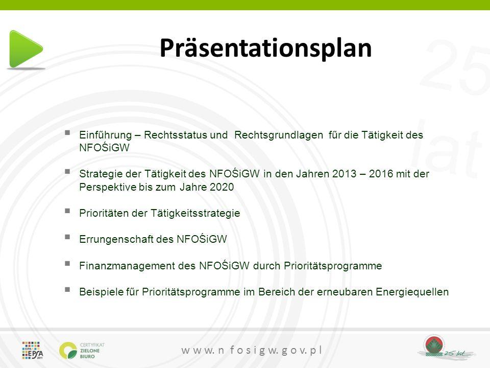 25 lat w w w.n f o s i g w. g o v. p l Priortätsprogramme für 2014 geplant 4.