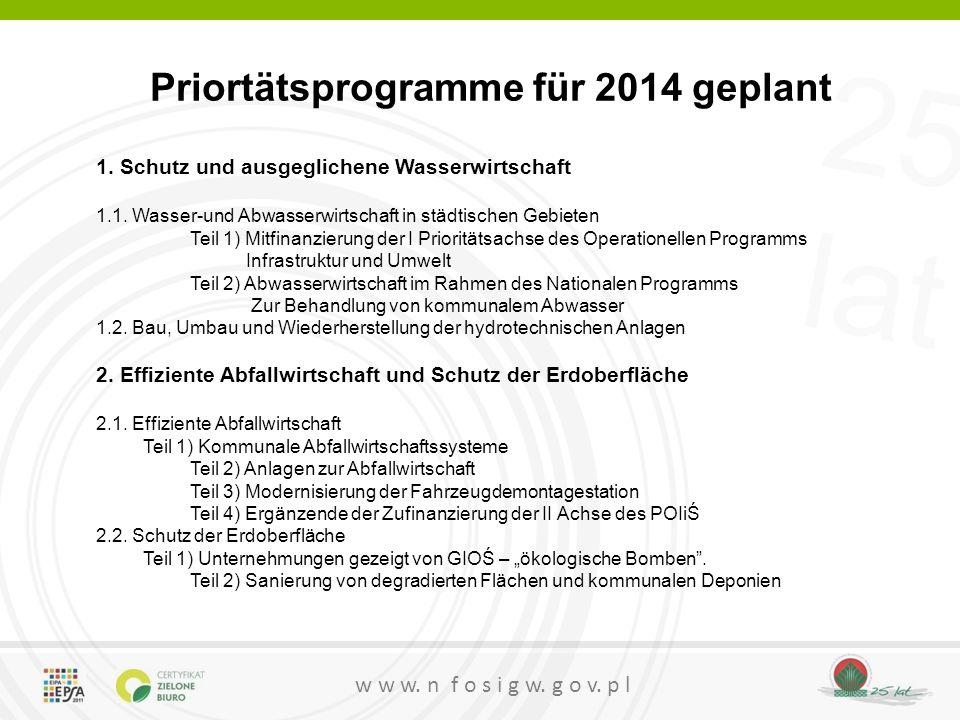 25 lat w w w. n f o s i g w. g o v. p l Priortätsprogramme für 2014 geplant 1. Schutz und ausgeglichene Wasserwirtschaft 1.1. Wasser-und Abwasserwirts