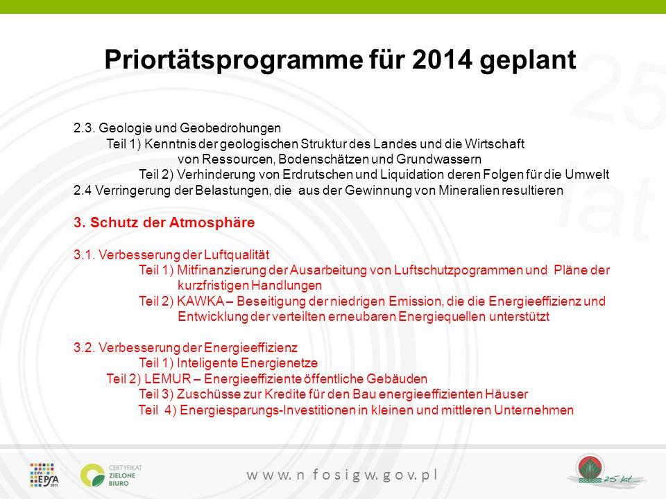 25 lat w w w. n f o s i g w. g o v. p l Priortätsprogramme für 2014 geplant 2.3. Geologie und Geobedrohungen Teil 1) Kenntnis der geologischen Struktu