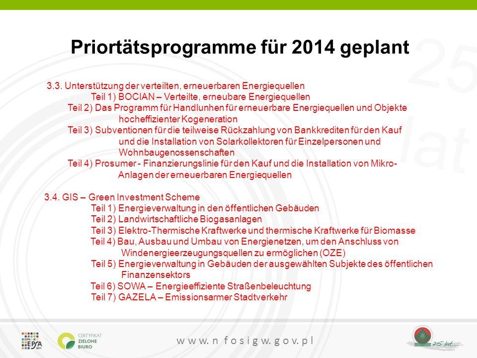 25 lat w w w. n f o s i g w. g o v. p l Priortätsprogramme für 2014 geplant 3.3. Unterstützung der verteilten, erneuerbaren Energiequellen Teil 1) BOC