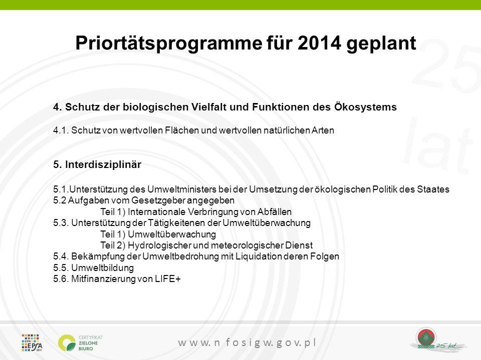 25 lat w w w. n f o s i g w. g o v. p l Priortätsprogramme für 2014 geplant 4. Schutz der biologischen Vielfalt und Funktionen des Ökosystems 4.1. Sch
