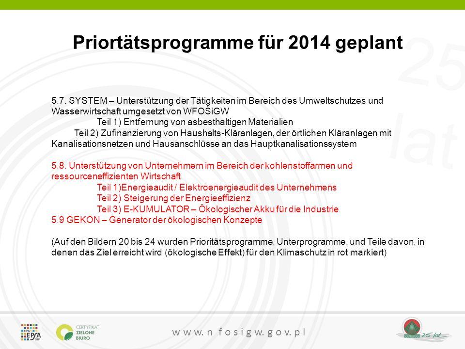 25 lat w w w. n f o s i g w. g o v. p l Priortätsprogramme für 2014 geplant 5.7. SYSTEM – Unterstützung der Tätigkeiten im Bereich des Umweltschutzes