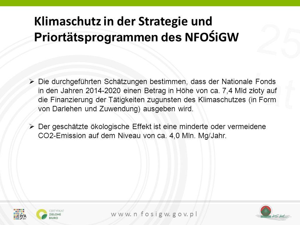 25 lat w w w. n f o s i g w. g o v. p l Klimaschutz in der Strategie und Priortätsprogrammen des NFOŚiGW  Die durchgeführten Schätzungen bestimmen, d