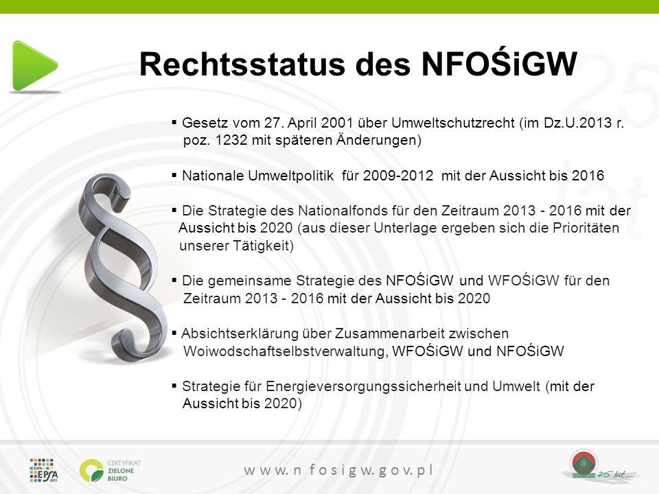 25 lat w w w. n f o s i g w. g o v. p l Rechtsstatus des NFOŚiGW  Gesetz vom 27. April 2001 über Umweltschutzrecht (im Dz.U.2013 r. poz. 1232 mit spä