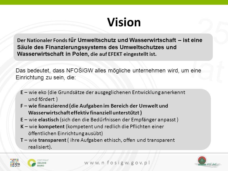 25 lat w w w. n f o s i g w. g o v. p l Vision Der Nationaler Fonds f űr Umweltschutz und Wasserwirtschaft – ist eine Säule des Finanzierungssystems d