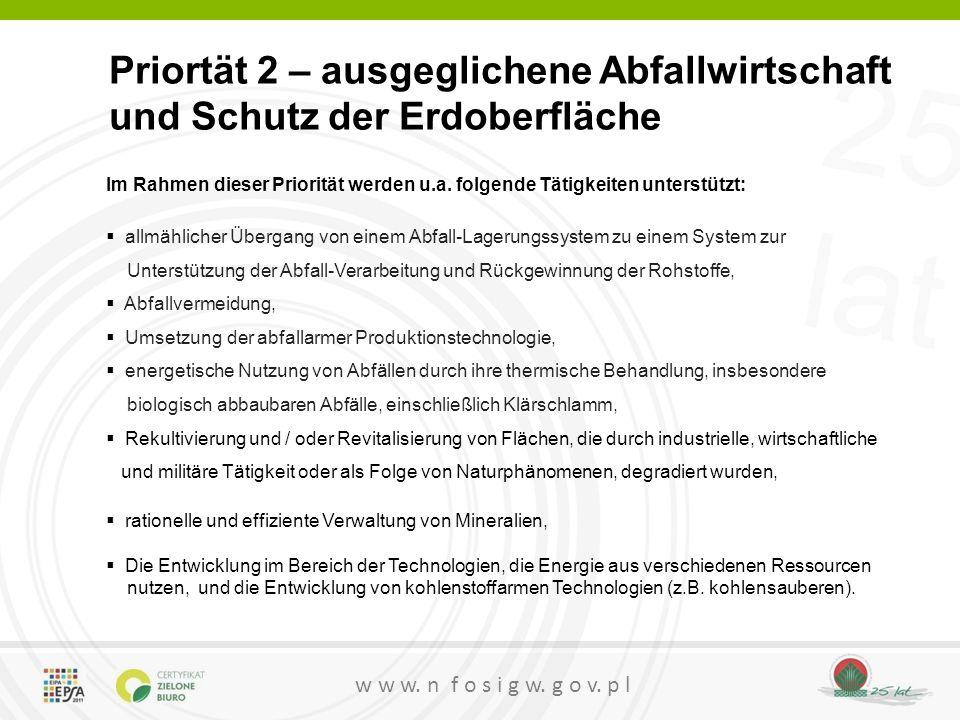 25 lat w w w.n f o s i g w. g o v. p l Priortätsprogramme für 2014 geplant 1.