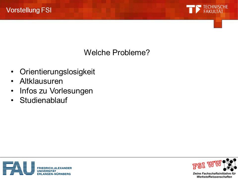 Vorstellung FSI Welche Probleme.