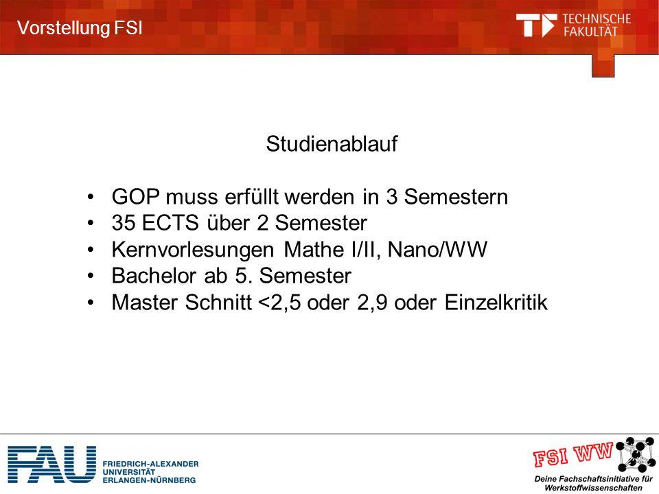 Vorstellung FSI Studienablauf GOP muss erfüllt werden in 3 Semestern 35 ECTS über 2 Semester Kernvorlesungen Mathe I/II, Nano/WW Bachelor ab 5.