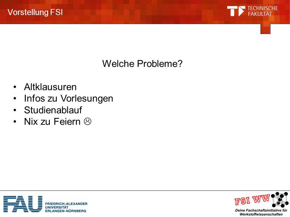 Vorstellung FSI Welche Probleme? Altklausuren Infos zu Vorlesungen Studienablauf Nix zu Feiern 