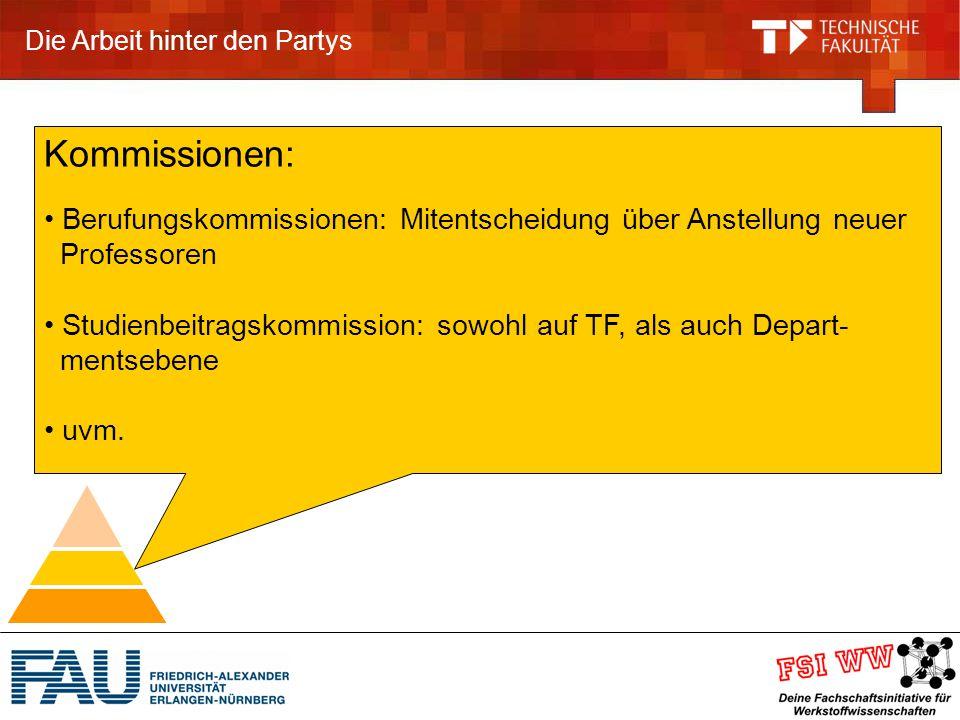 Die Arbeit hinter den Partys Kommissionen: Berufungskommissionen: Mitentscheidung über Anstellung neuer Professoren Studienbeitragskommission: sowohl auf TF, als auch Depart- mentsebene uvm.