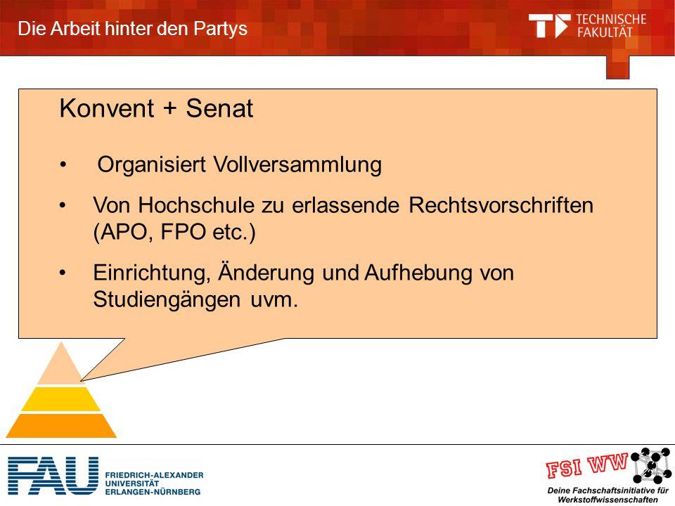 Die Arbeit hinter den Partys Konvent + Senat Organisiert Vollversammlung Von Hochschule zu erlassende Rechtsvorschriften (APO, FPO etc.) Einrichtung, Änderung und Aufhebung von Studiengängen uvm.
