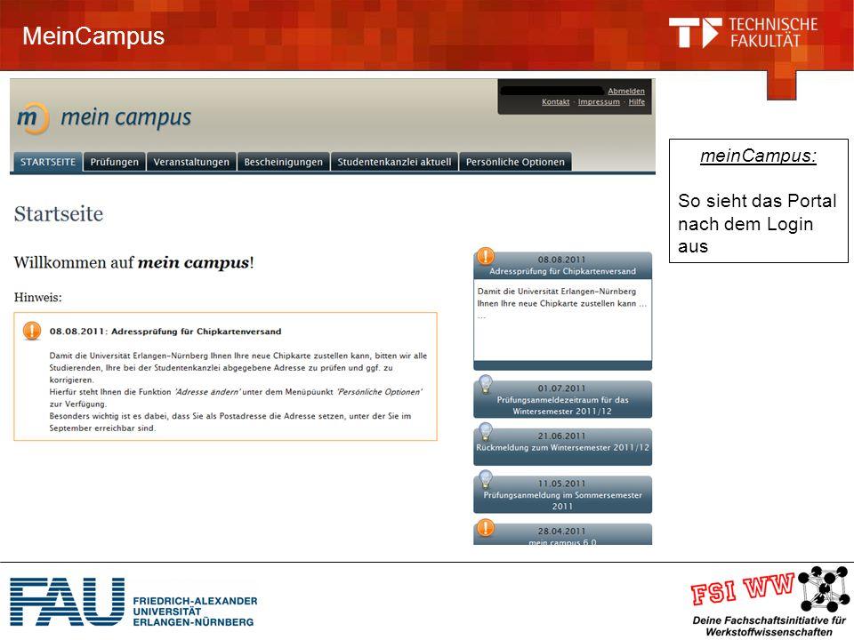 MeinCampus meinCampus: So sieht das Portal nach dem Login aus