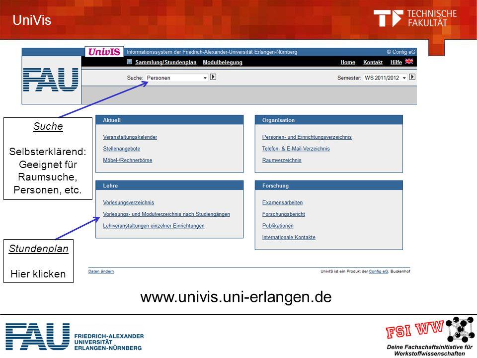 UniVis www.univis.uni-erlangen.de Stundenplan Hier klicken Suche Selbsterklärend: Geeignet für Raumsuche, Personen, etc.