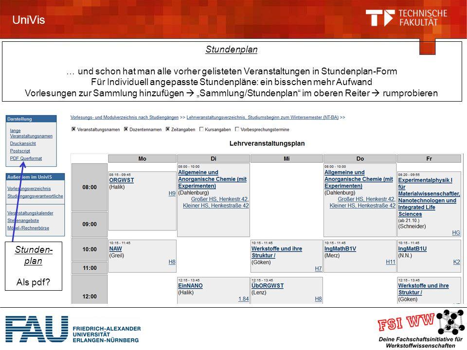 UniVis Stunden- plan Als pdf.