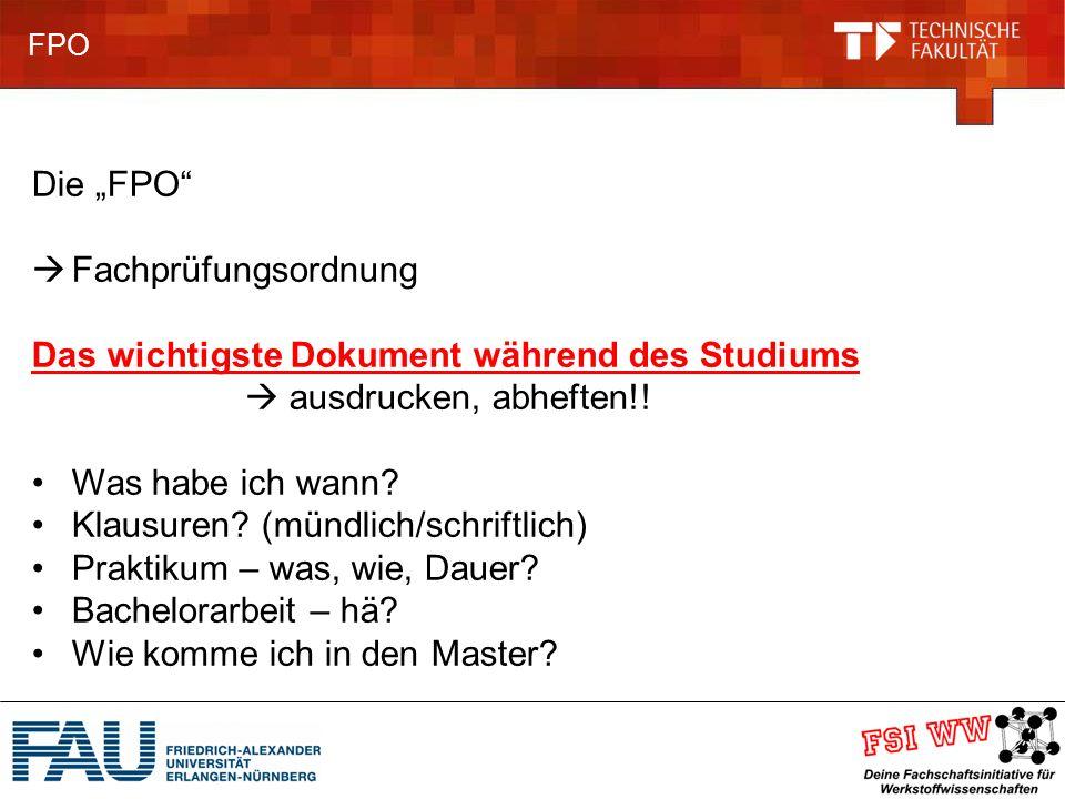 """FPO Die """"FPO  Fachprüfungsordnung Das wichtigste Dokument während des Studiums  ausdrucken, abheften!."""
