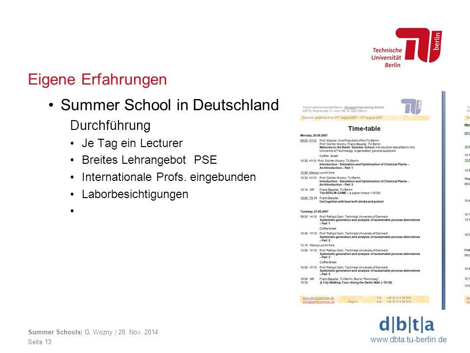 d b t a www.dbta.tu-berlin.de Eigene Erfahrungen Seite 13 Summer Schools  G. Wozny   28. Nov. 2014 Summer School in Deutschland Durchführung Je Tag ei