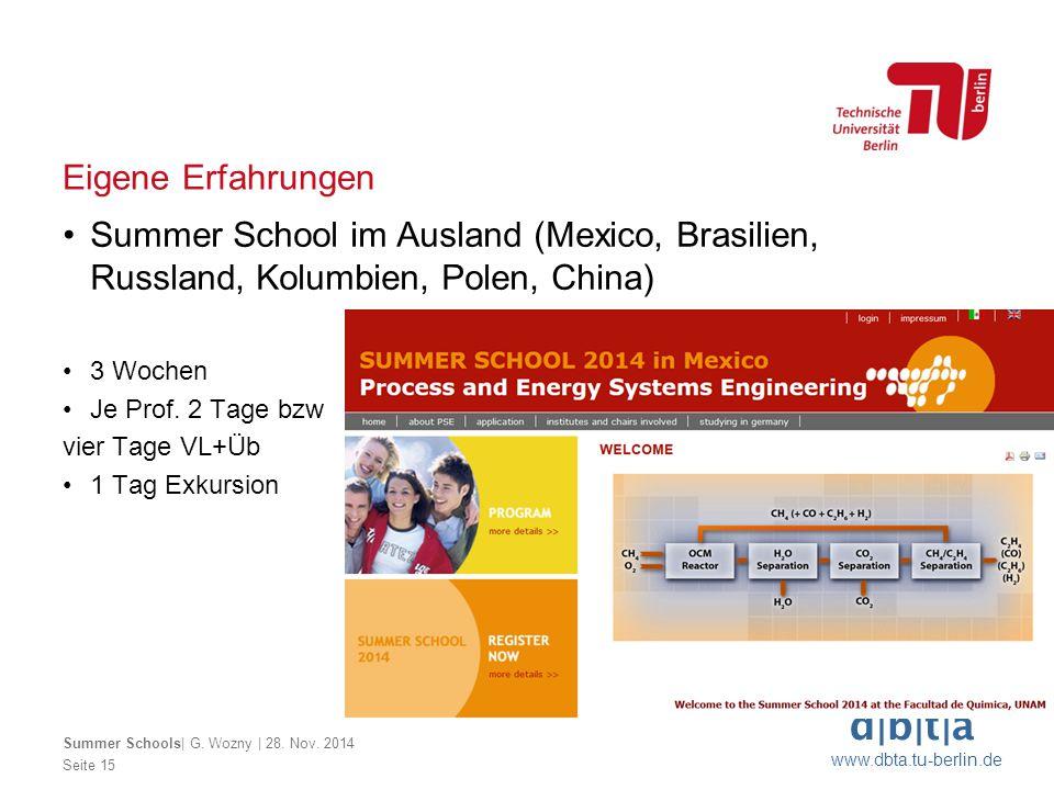 d b t a www.dbta.tu-berlin.de Eigene Erfahrungen Seite 15 Summer Schools  G. Wozny   28. Nov. 2014 Summer School im Ausland (Mexico, Brasilien, Russla
