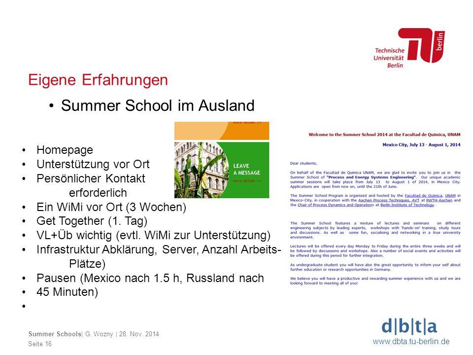d b t a www.dbta.tu-berlin.de Seite 16 Eigene Erfahrungen Summer School im Ausland Summer Schools  G. Wozny   28. Nov. 2014 Homepage Unterstützung vor