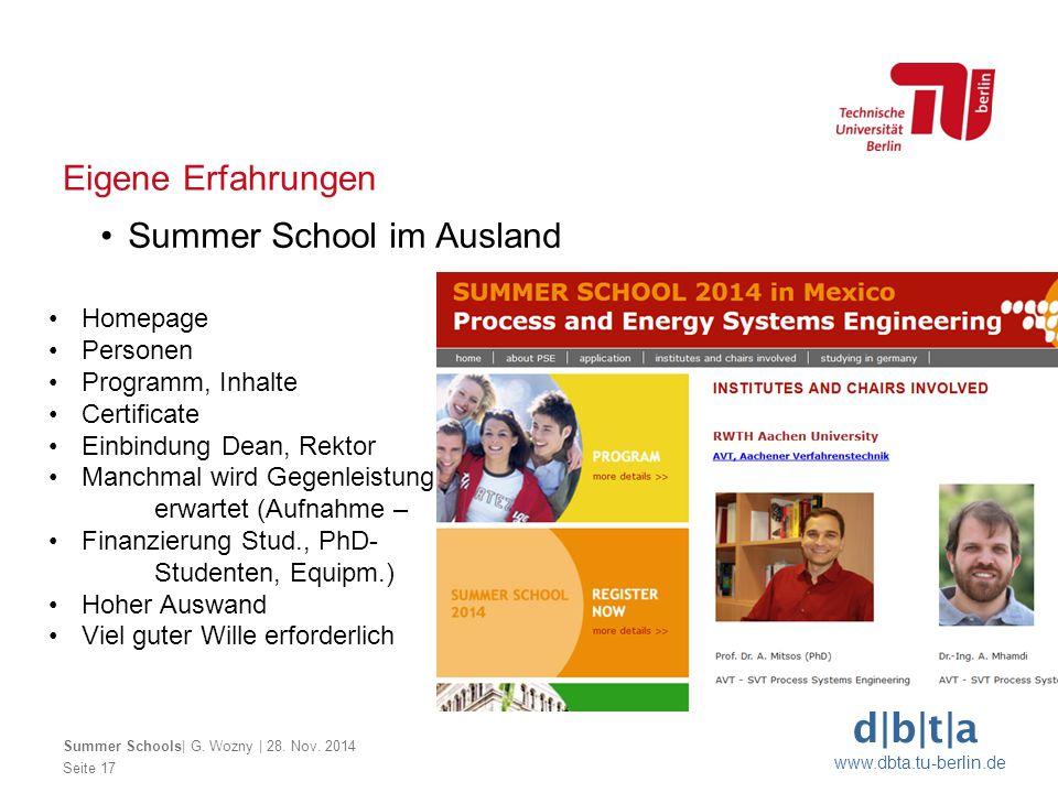 d|b|t|a www.dbta.tu-berlin.de Seite 17 Eigene Erfahrungen Summer School im Ausland Summer Schools| G. Wozny | 28. Nov. 2014 Homepage Personen Programm