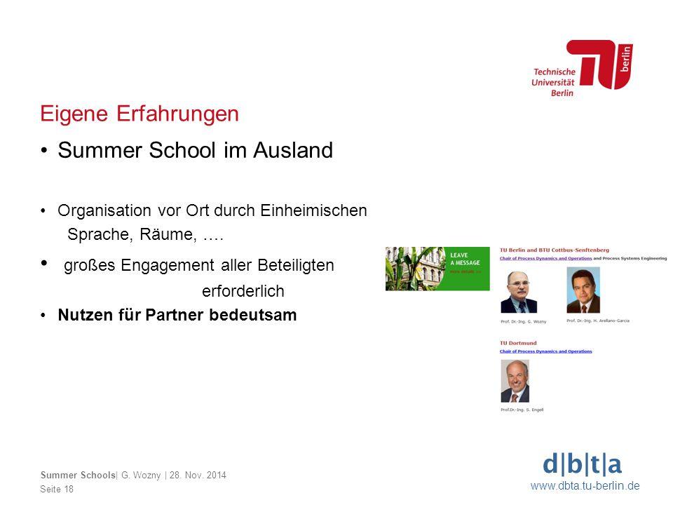 d|b|t|a www.dbta.tu-berlin.de Seite 18 Eigene Erfahrungen Summer School im Ausland Organisation vor Ort durch Einheimischen Sprache, Räume, …. großes