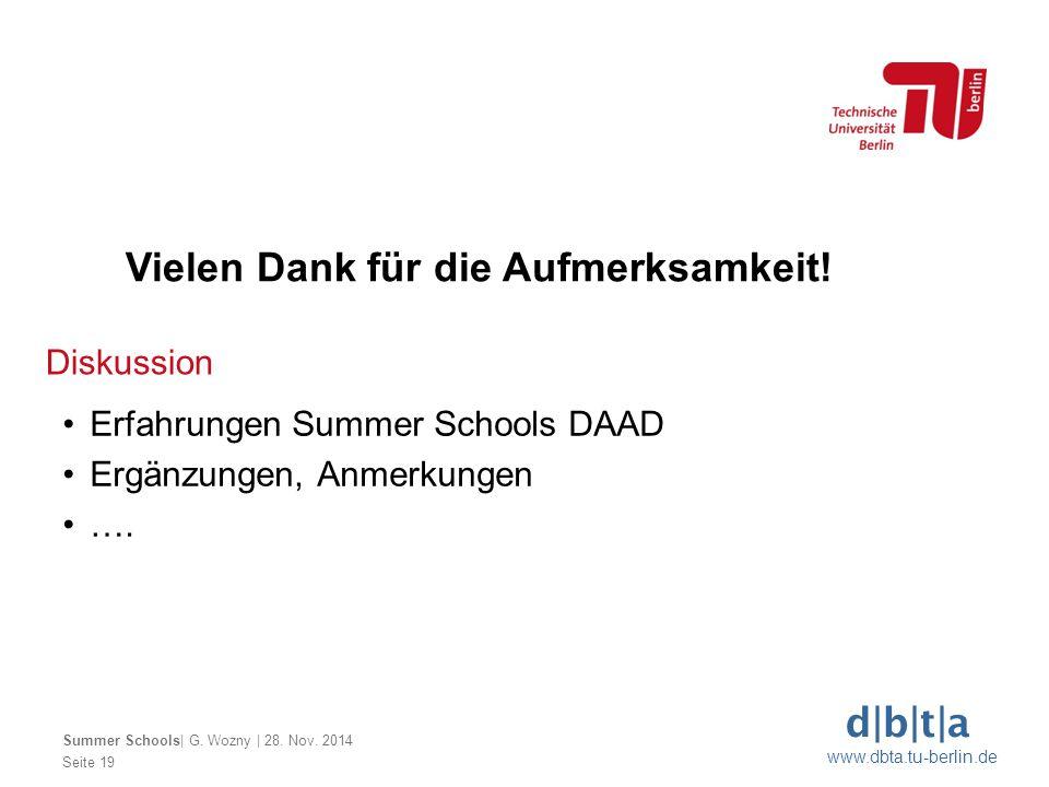 d b t a www.dbta.tu-berlin.de Diskussion Seite 19 Summer Schools  G. Wozny   28. Nov. 2014 Erfahrungen Summer Schools DAAD Ergänzungen, Anmerkungen ….