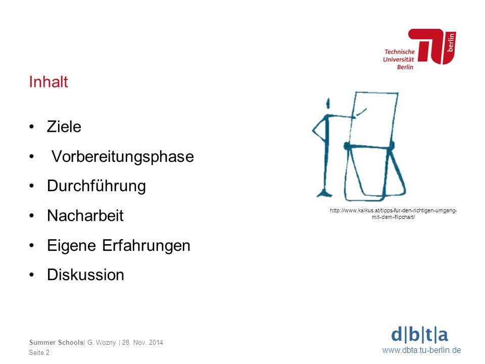 d|b|t|a www.dbta.tu-berlin.de Inhalt Seite 2 Summer Schools| G. Wozny | 28. Nov. 2014 Ziele Vorbereitungsphase Durchführung Nacharbeit Eigene Erfahrun