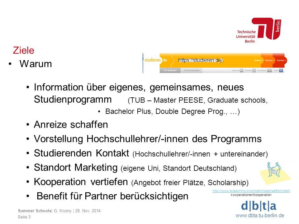 d|b|t|a www.dbta.tu-berlin.de Ziele Seite 3 Summer Schools| G. Wozny | 28. Nov. 2014 Warum Information über eigenes, gemeinsames, neues Studienprogram