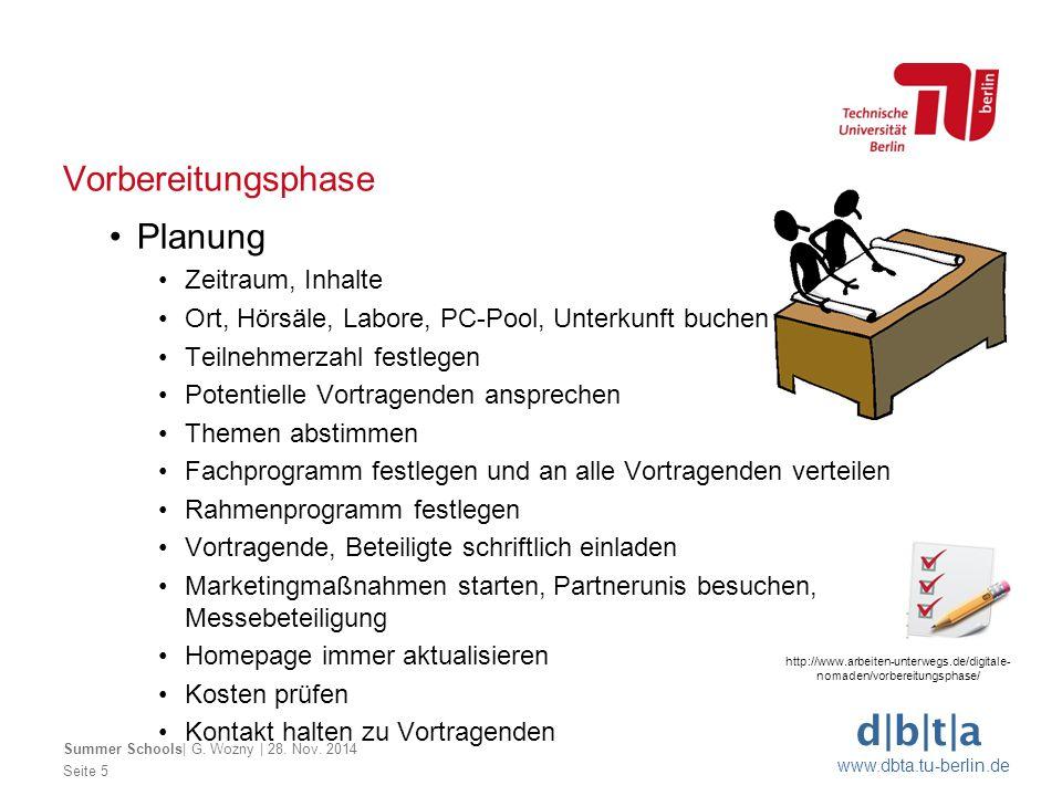 d|b|t|a www.dbta.tu-berlin.de Vorbereitungsphase Seite 5 Summer Schools| G. Wozny | 28. Nov. 2014 Planung Zeitraum, Inhalte Ort, Hörsäle, Labore, PC-P