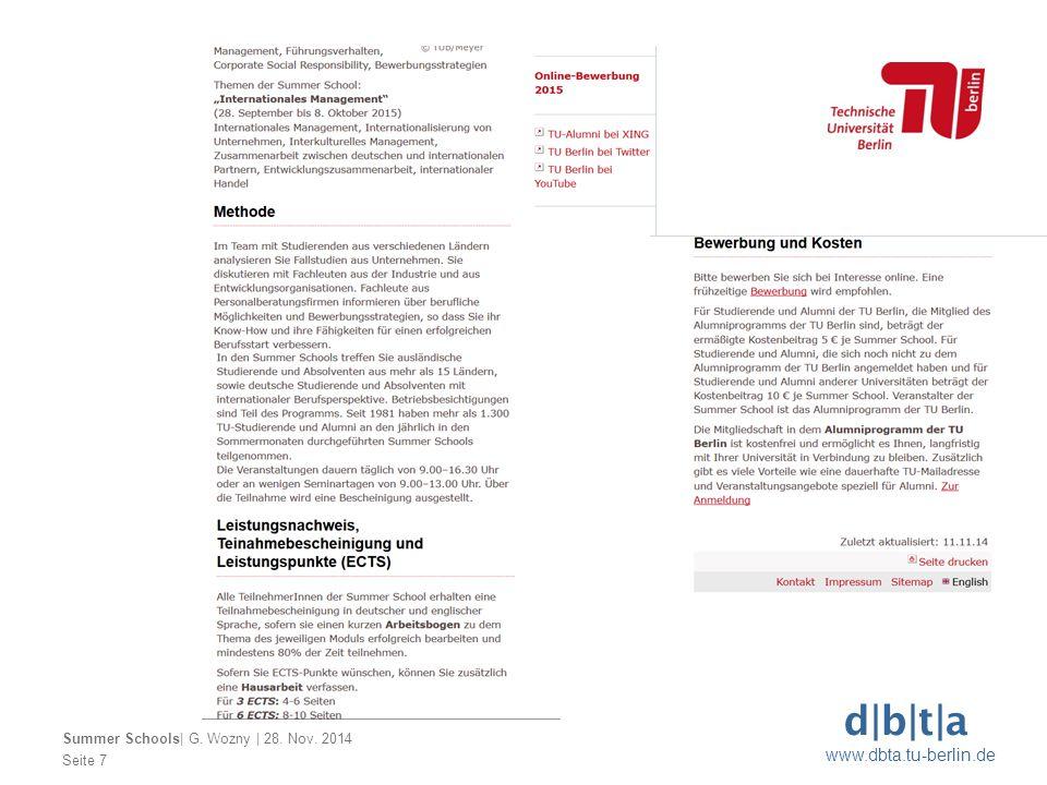 d b t a www.dbta.tu-berlin.de Seite 7 Summer Schools  G. Wozny   28. Nov. 2014