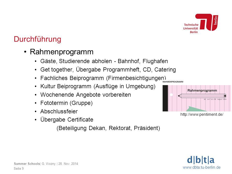d b t a www.dbta.tu-berlin.de Durchführung Seite 9 Summer Schools  G. Wozny   28. Nov. 2014 Rahmenprogramm Gäste, Studierende abholen - Bahnhof, Flugh