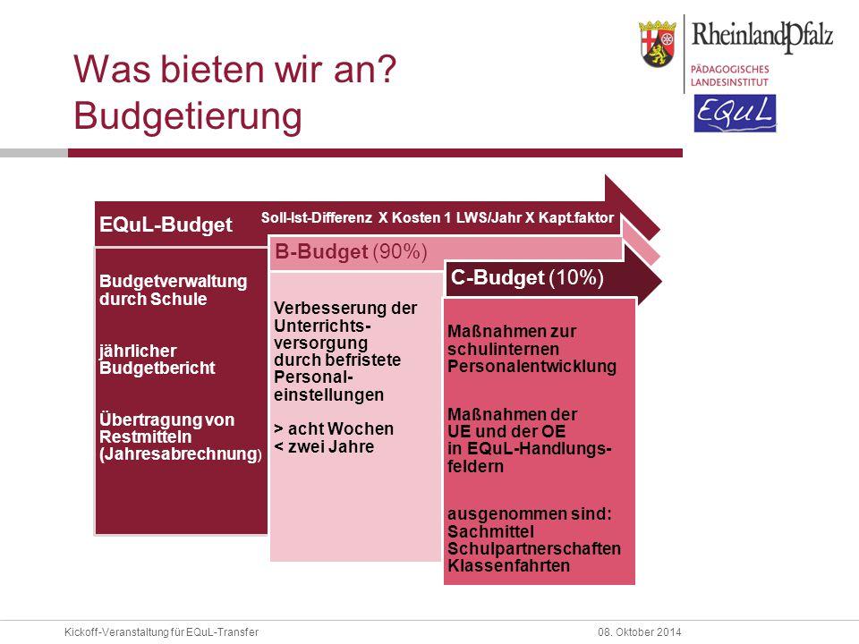 Kickoff-Veranstaltung für EQuL-Transfer08. Oktober 2014 Was bieten wir an? Budgetierung EQuL-Budget Budgetverwaltung durch Schule jährlicher Budgetber