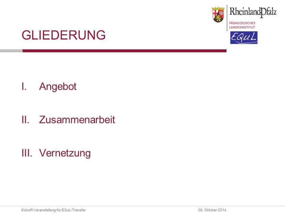 Kickoff-Veranstaltung für EQuL-Transfer08. Oktober 2014 GLIEDERUNG I.Angebot II.Zusammenarbeit III.Vernetzung
