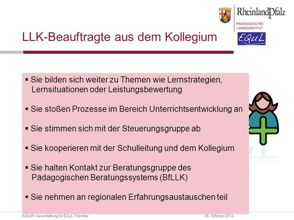 Kickoff-Veranstaltung für EQuL-Transfer08. Oktober 2014 LLK-Beauftragte aus dem Kollegium  Sie bilden sich weiter zu Themen wie Lernstrategien, Lerns