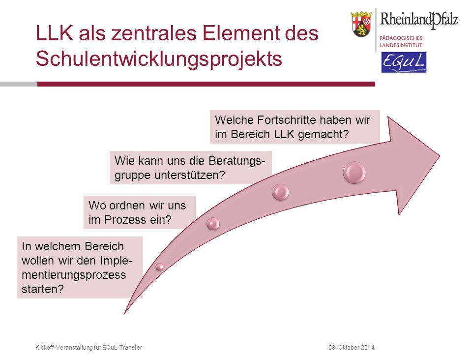 Kickoff-Veranstaltung für EQuL-Transfer08. Oktober 2014 Welche Fortschritte haben wir im Bereich LLK gemacht? Wie kann uns die Beratungs- gruppe unter