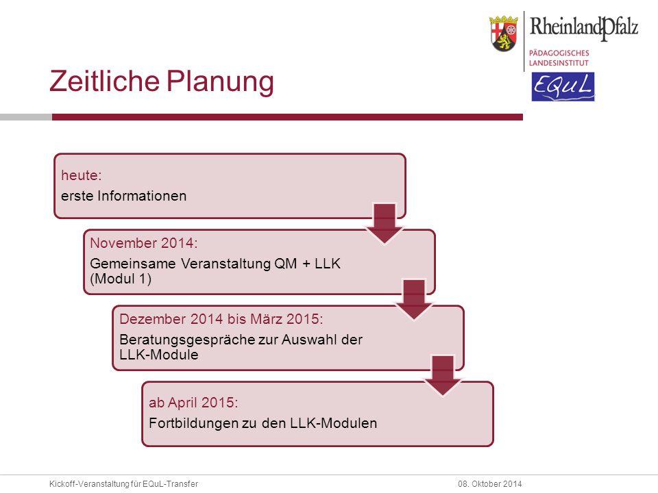 Kickoff-Veranstaltung für EQuL-Transfer08. Oktober 2014 Zeitliche Planung heute: erste Informationen November 2014: Gemeinsame Veranstaltung QM + LLK