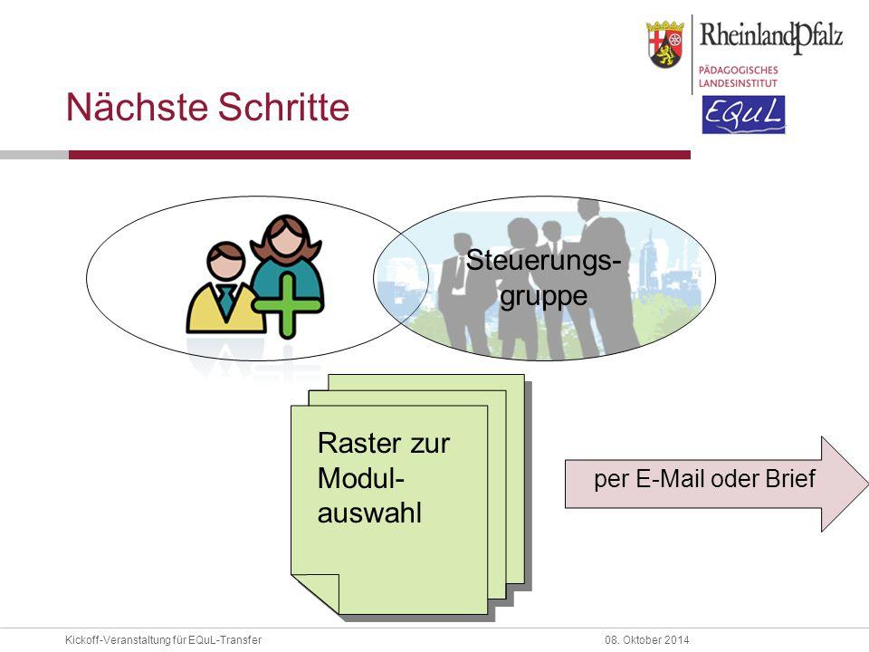 Kickoff-Veranstaltung für EQuL-Transfer08. Oktober 2014 Nächste Schritte Steuerungs- gruppe Raster zur Modul- auswahl per E-Mail oder Brief
