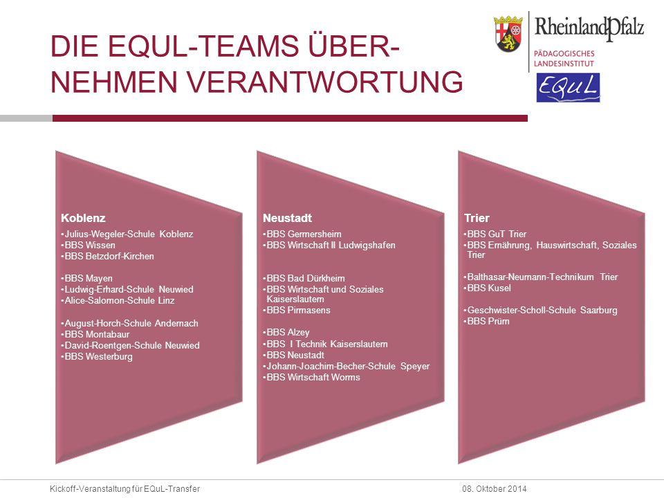 Kickoff-Veranstaltung für EQuL-Transfer08. Oktober 2014 DIE EQUL-TEAMS ÜBER- NEHMEN VERANTWORTUNG Koblenz Julius-Wegeler-Schule Koblenz BBS Wissen BBS