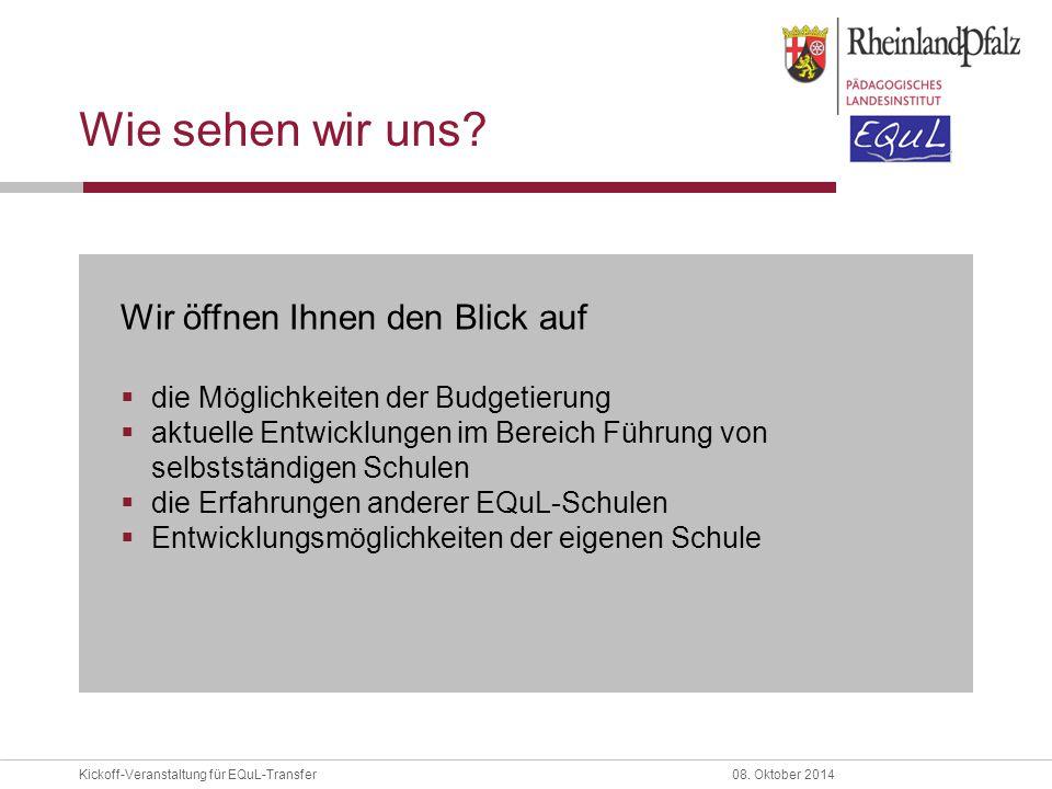 08. Oktober 2014Kickoff-Veranstaltung für EQuL-Transfer III. Vernetzung