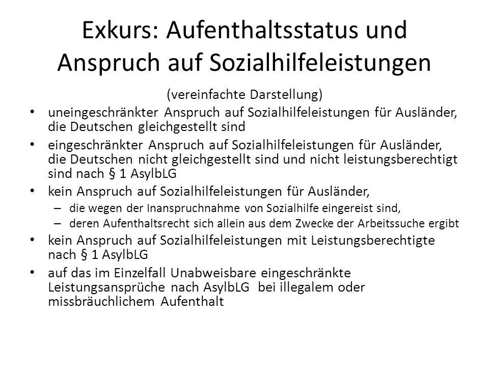 Exkurs: Aufenthaltsstatus und Anspruch auf Sozialhilfeleistungen (vereinfachte Darstellung) uneingeschränkter Anspruch auf Sozialhilfeleistungen für A