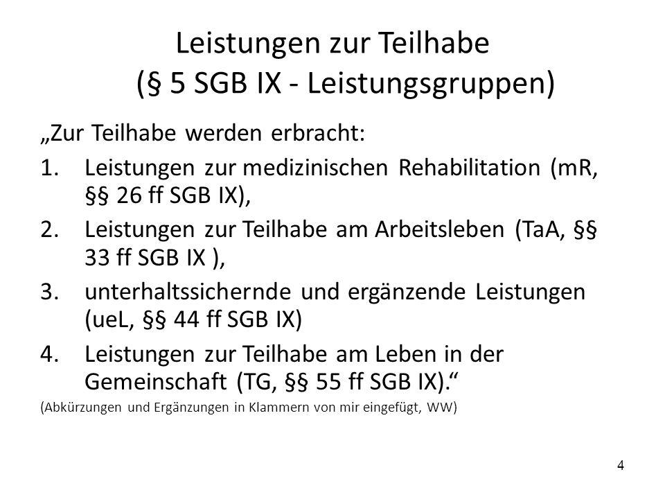 """4 Leistungen zur Teilhabe (§ 5 SGB IX - Leistungsgruppen) """"Zur Teilhabe werden erbracht: 1.Leistungen zur medizinischen Rehabilitation (mR, §§ 26 ff S"""