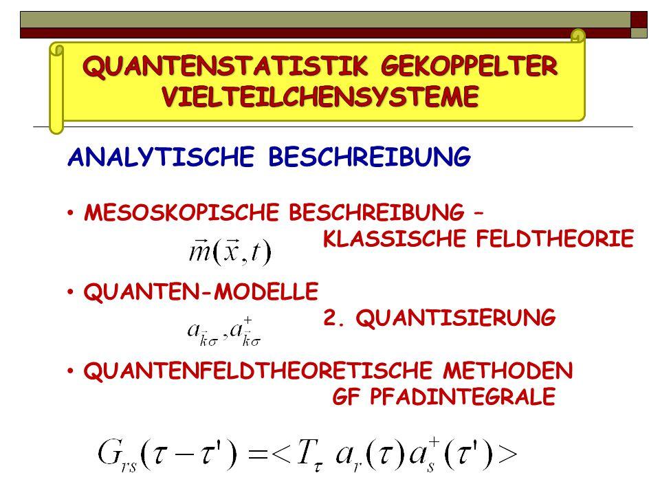 ANALYTISCHE BESCHREIBUNG MESOSKOPISCHE BESCHREIBUNG – KLASSISCHE FELDTHEORIE QUANTEN-MODELLE 2.