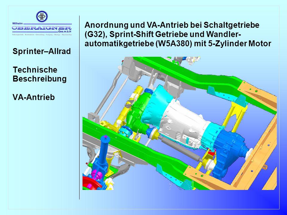 Sprinter–Allrad Technische Beschreibung Hinterachse Die Anpassung der Hinterachse erfolgt durch eine Niveauanhebung um 55mm bei 4,6T und 6,0T bzw.