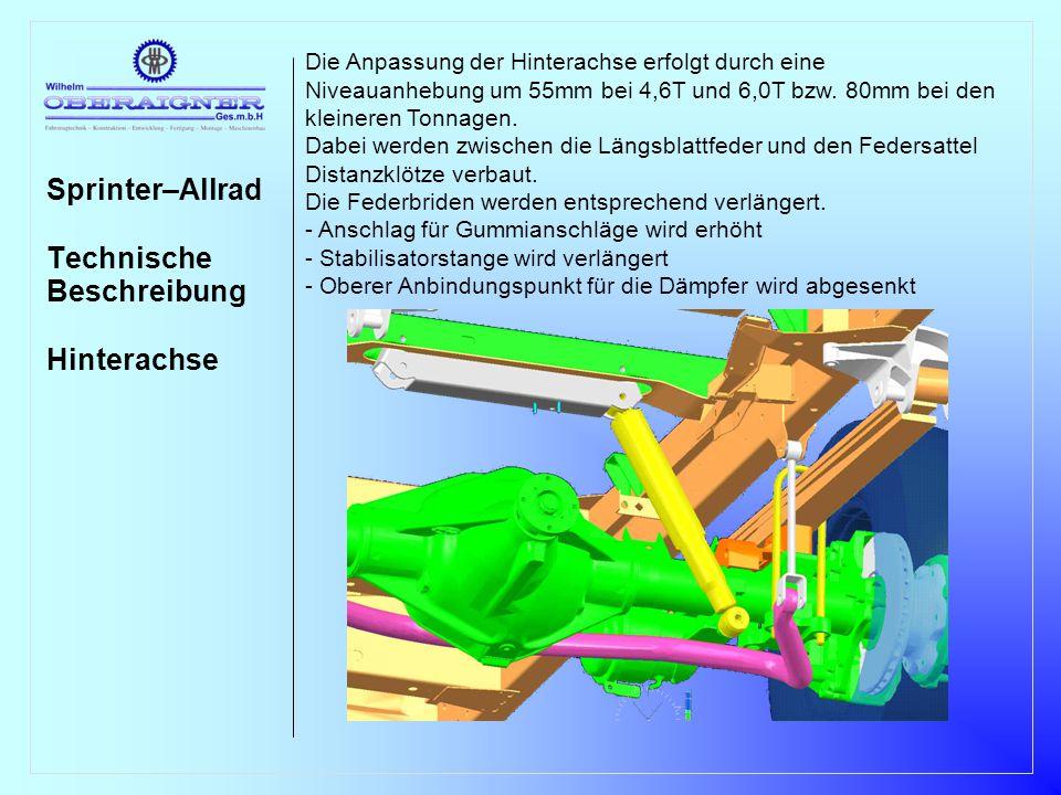 Sprinter–Allrad Erstmontage Wartung Reparatur Verfügbarkeit Varianten Die Erstmontage des Systems erfolgt durch Fa.