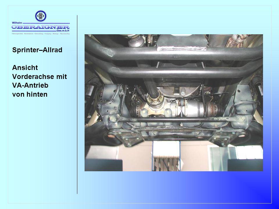 Sprinter–Allrad Ansicht Vorderachse mit VA-Antrieb von rechts