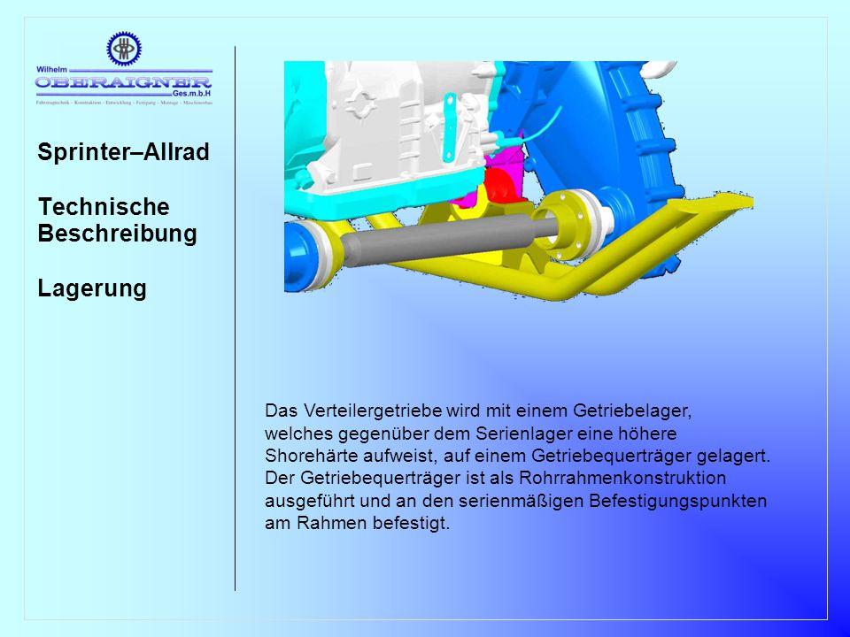 Sprinter–Allrad Technische Beschreibung Vorderachse VA-Antrieb Die Vorderachse wird als komplette Einheit gegenüber dem 4x2 Fahr- zeug getauscht und beinhaltet die Niveauanhebung sowie alle für die Unter- bringung des VA-Antriebes notwendigen Anpassungen.