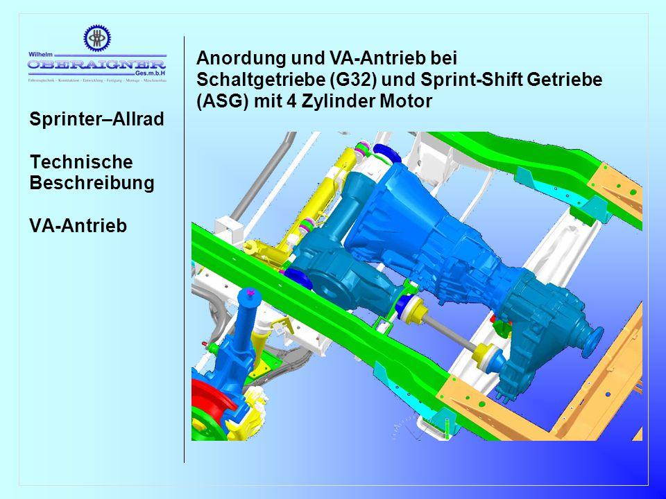 Sprinter–Allrad Technische Beschreibung VA-Antrieb Anordnung und VA-Antrieb bei Schaltgetriebe (G32), Sprint-Shift Getriebe und Wandler- automatikgetriebe (W5A380) mit 5-Zylinder Motor