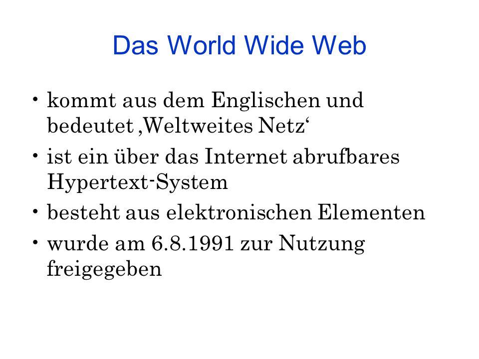 Das World Wide Web kommt aus dem Englischen und bedeutet 'Weltweites Netz' ist ein über das Internet abrufbares Hypertext-System besteht aus elektroni