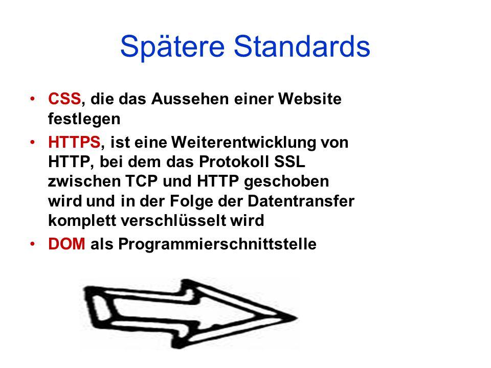 Spätere Standards CSS, die das Aussehen einer Website festlegen HTTPS, ist eine Weiterentwicklung von HTTP, bei dem das Protokoll SSL zwischen TCP und HTTP geschoben wird und in der Folge der Datentransfer komplett verschlüsselt wird DOM als Programmierschnittstelle